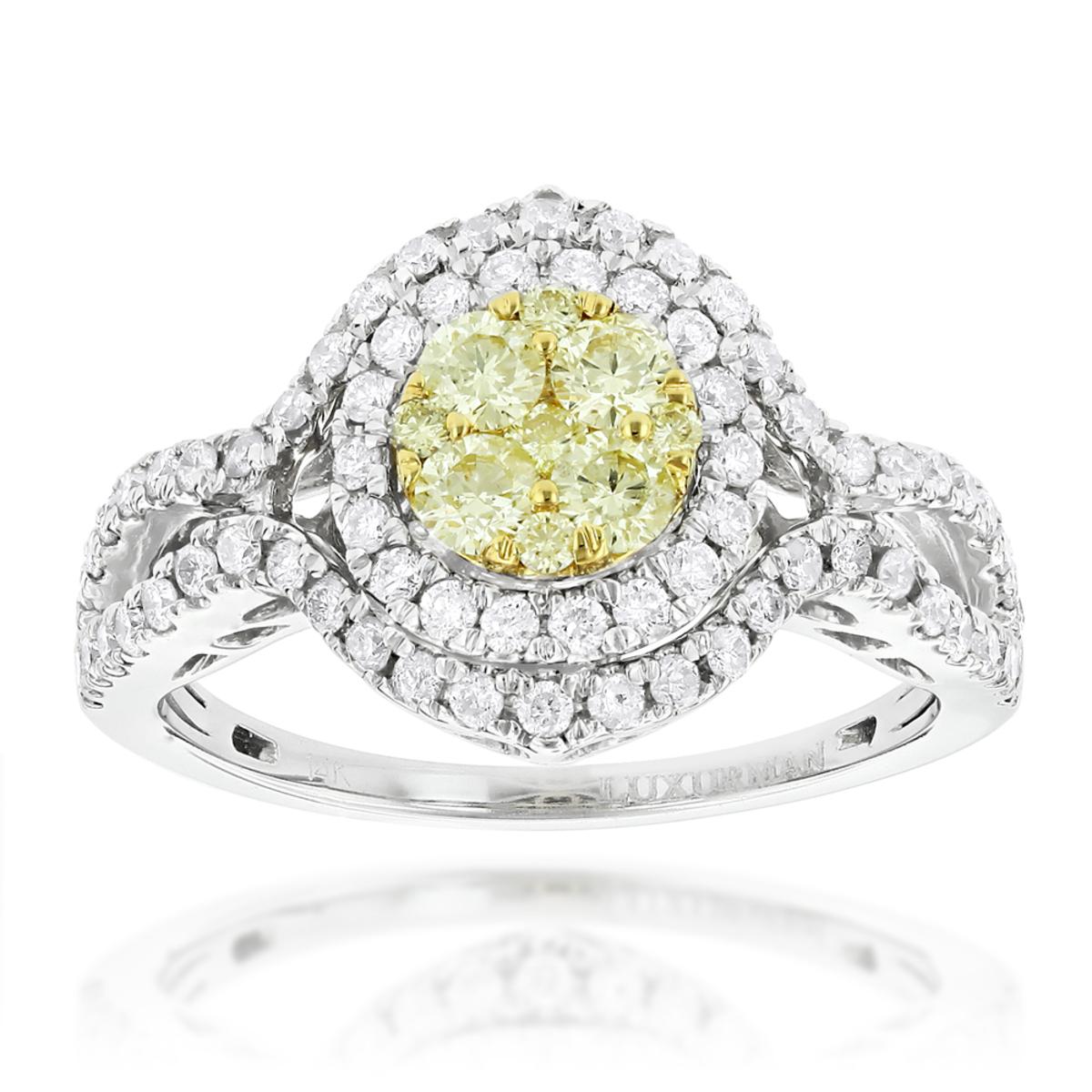 Women's Cluster Rings: 14K Gold White Yellow Diamond Engagement Ring 1.15ct