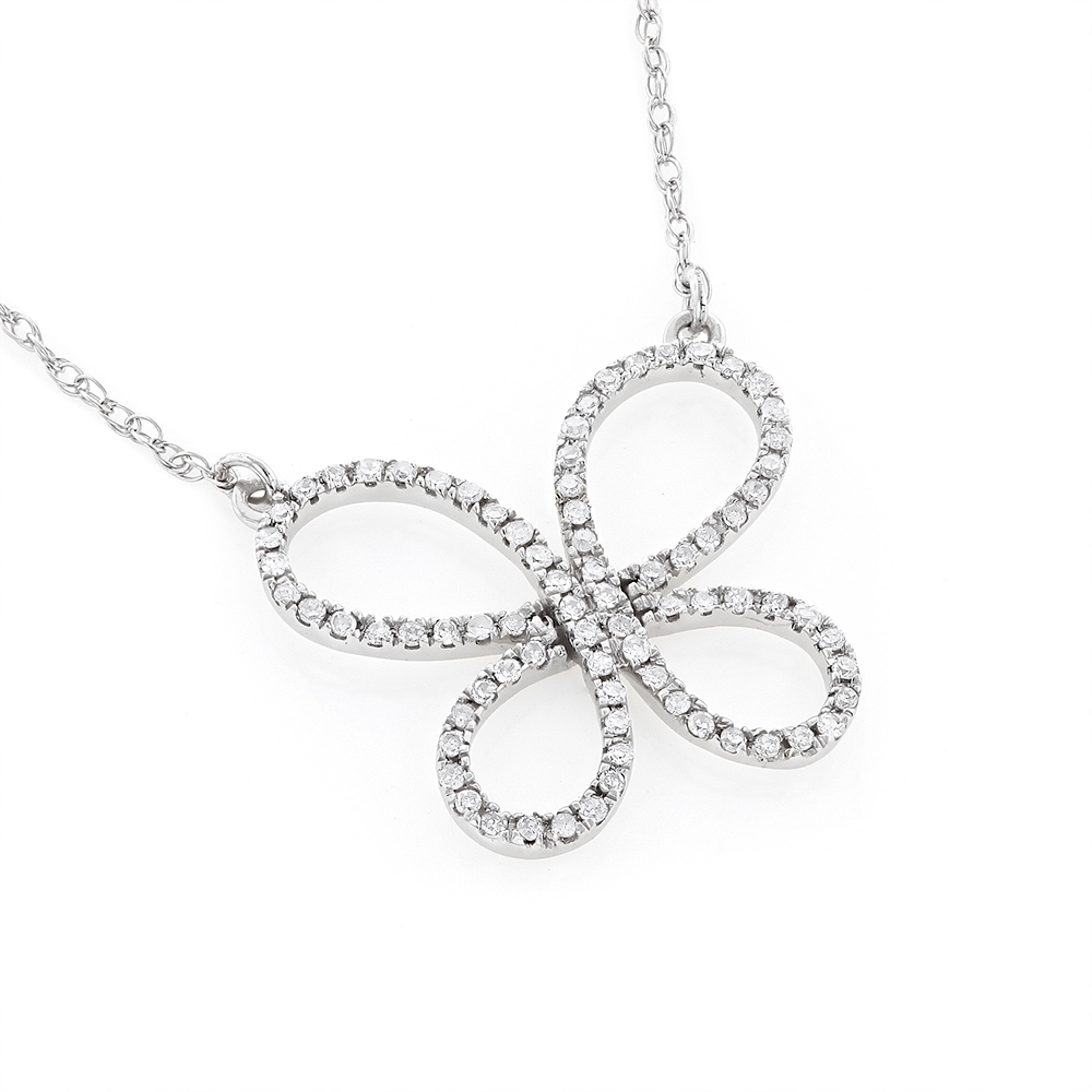 Womens  Diamond Butterfly Pendant Necklace 14K Gold 0.2ct