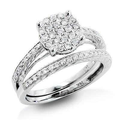 Womens Diamond Engagement Ring Set 14K Gold 0.68ct