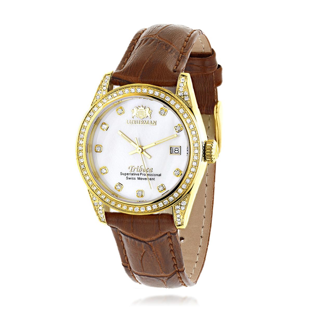 Womens Diamond Watch Yellow Gold Pltd w Leather Band Luxurman Tribeca 1.5ct