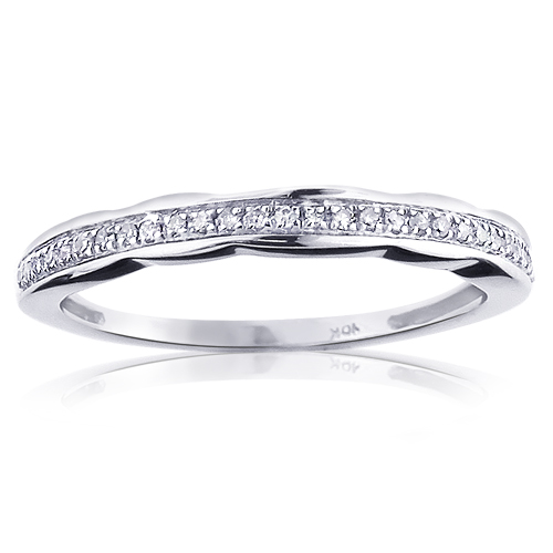 Ultra Thin Womens Diamond Wedding Band 0.15ct 10K Gold