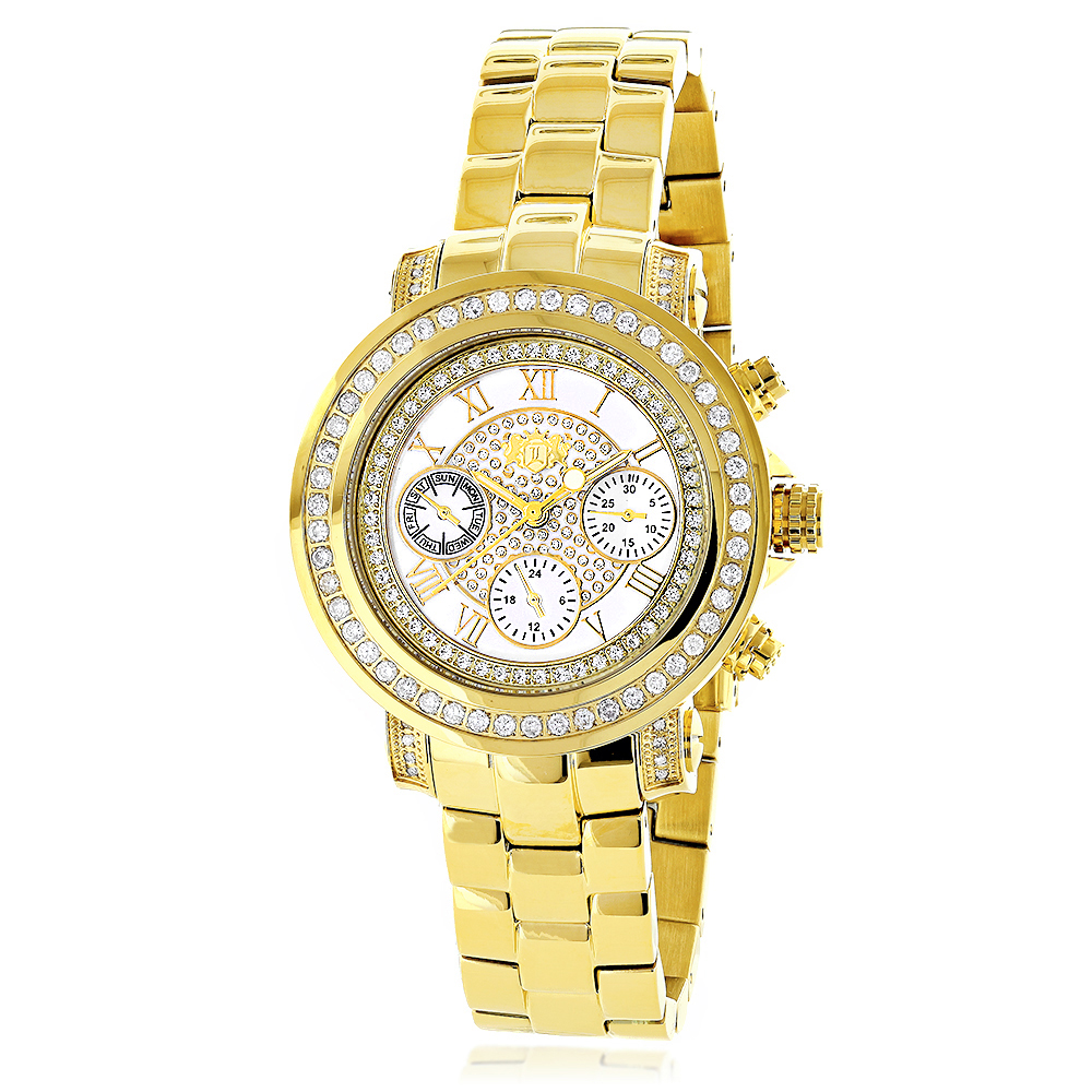 Womens Diamond Yellow Gold Plated Watch Luxurman Montana White Mop 2ct
