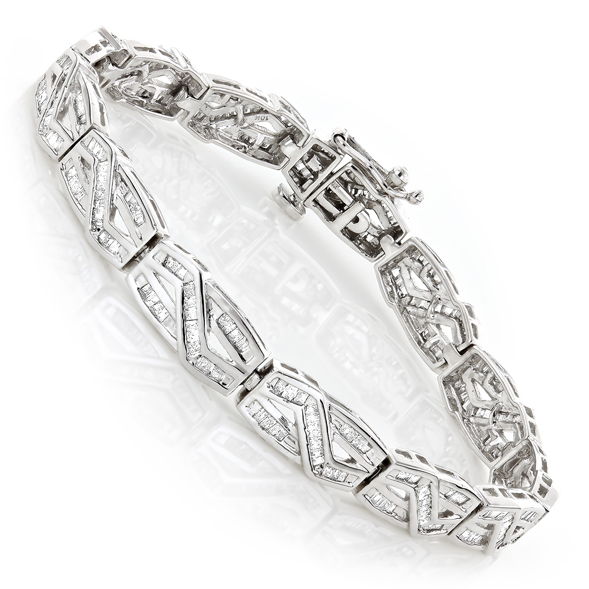 Womens Infinity Baguette Diamond Bracelet 2.84ct