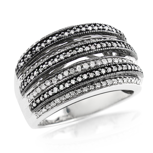 Womens Sterling Silver Diamond Ring 1ct