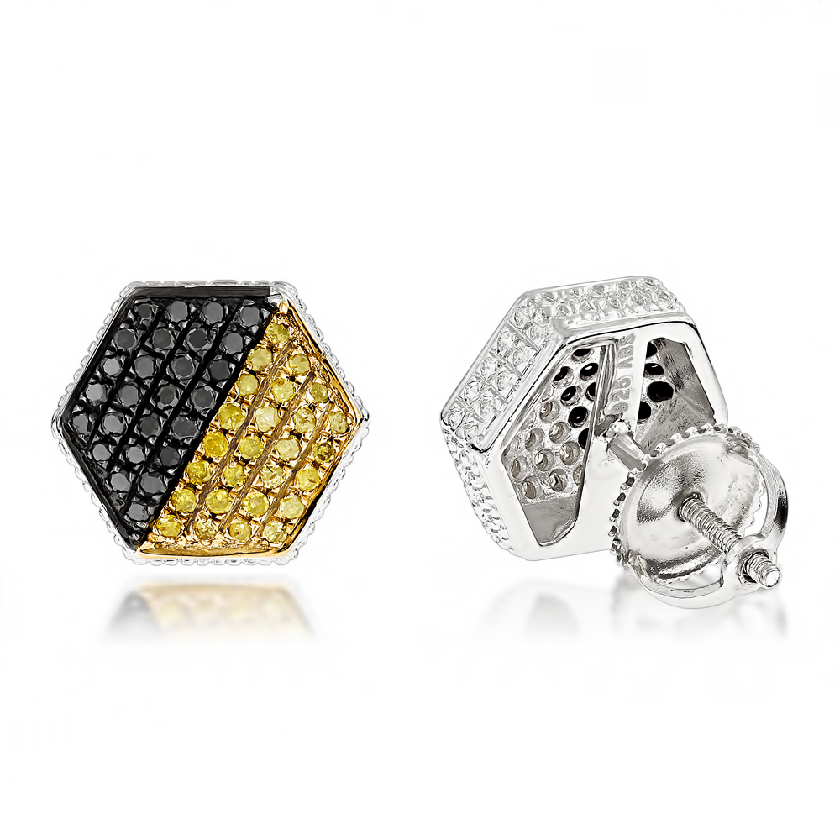Yellow Black Diamond Earrings 0.65ct Sterling Silver