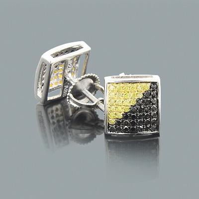 Yellow Black Diamond Earrings 0.75ct Sterling Silver