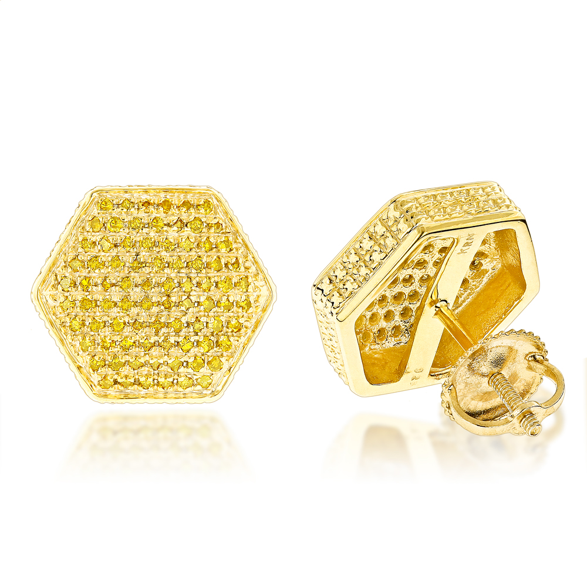 Yellow Diamond Earrings 0.75ct Sterling Silver