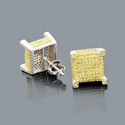 Yellow Diamond Earrings in Sterling Silver 1.32ct