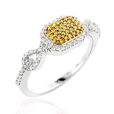 Yellow Diamond Pre Engagement Ring 0.34ct 14K Gold