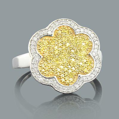 Yellow Diamond Ring 0.61ct Ladies Flower Jewelry
