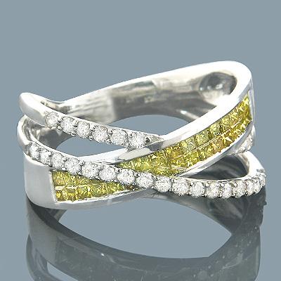Yellow Diamond Rings 10K Fancy Yellow Diamond Band 1.20