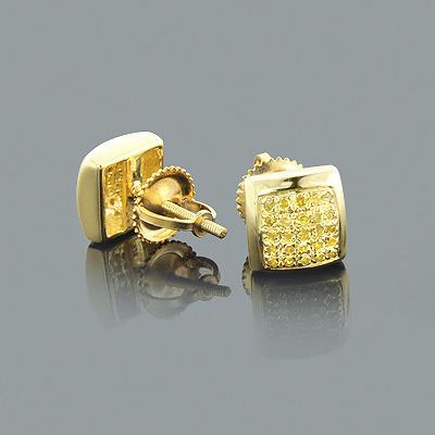 Yellow Diamond Stud Earrings 0.35ct Sterling Silver