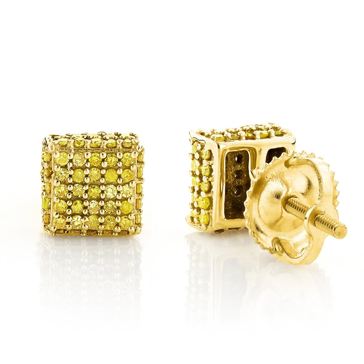 Yellow Diamond Stud Earrings 0.53ct 10K Gold