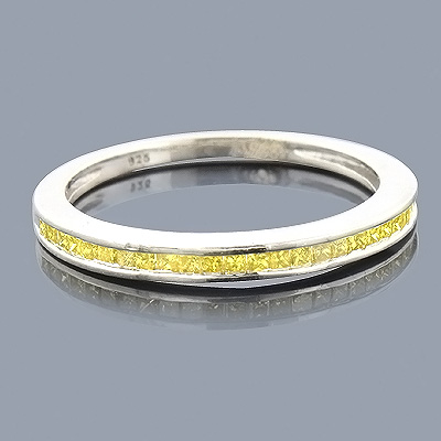 Ultra Thin Yellow Diamond Wedding Band 0.29ct Sterling Silver