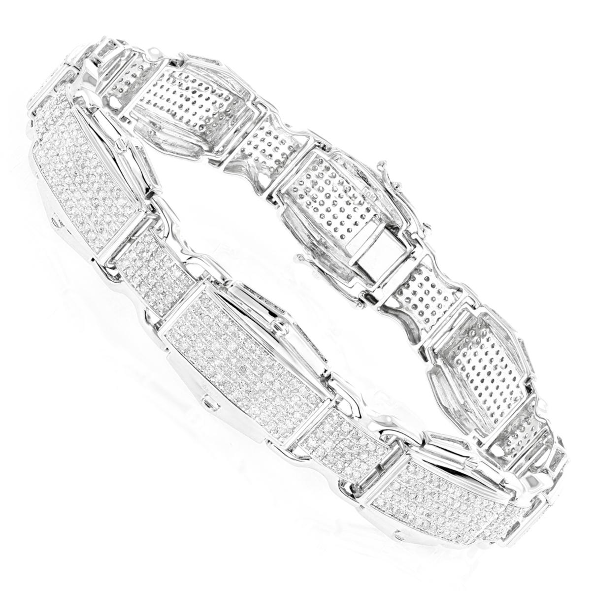 Rose White Yellow Gold Diamond Bracelet for Men 10K 3.48ct