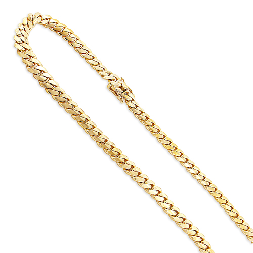 Mens Luxurman Solid Yellow Gold Miami Cuban Link Chain 5.5mm 14K 22-40in