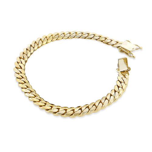 Yellow Gold Miami Cuban Link Curb Chain Bracelet 14K 4mm 7.5-9in