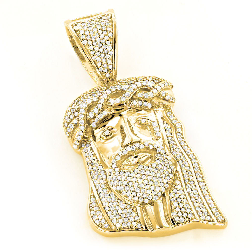 Yellow gold plated diamond jesus head pendant in sterling silver 1ct aloadofball Images
