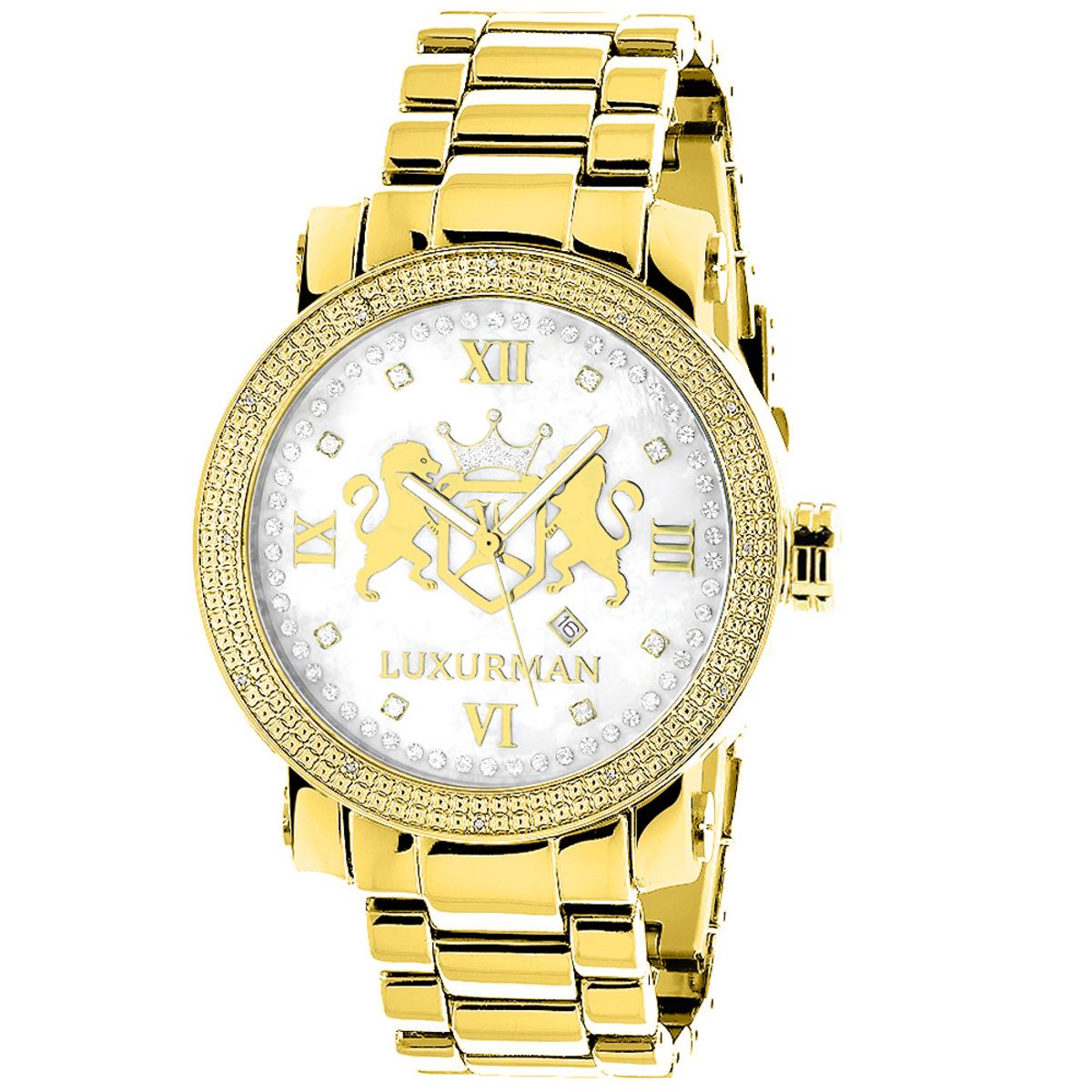 Yellow Gold Plated Diamond Watch for Men by Luxurman Phantom 0.12ct