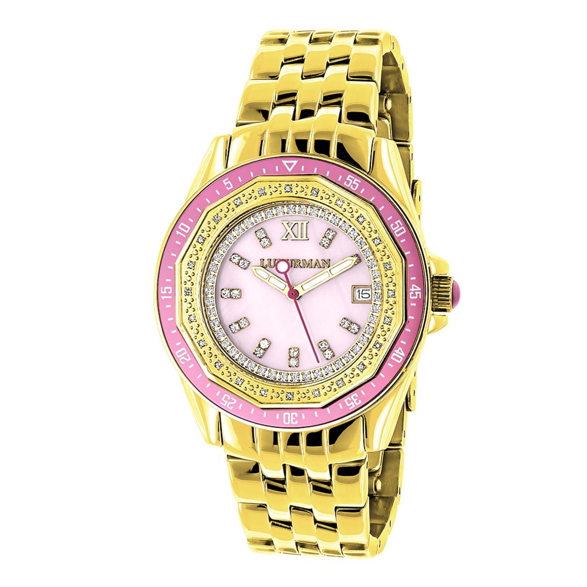 Yellow Gold Plated Ladies Diamond Pink Watch 0.25ct Luxurman