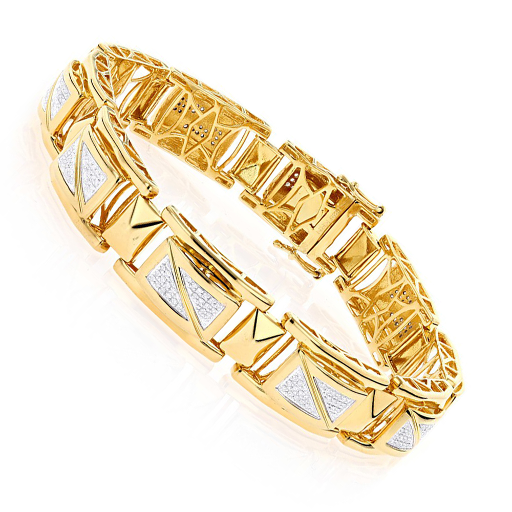 Yellow Gold Plated Silver Diamond Bracelet for Men 0.50ct