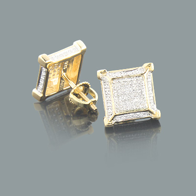Yellow Gold Plated Silver Diamond Earrings 0.22ct