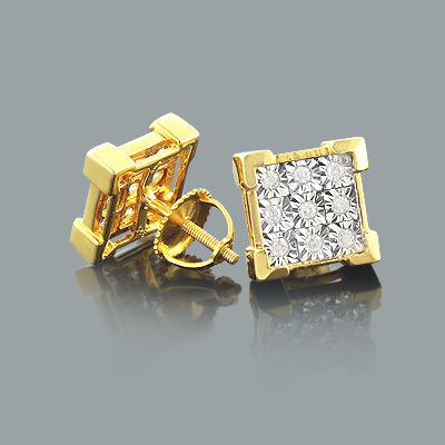 Yellow Gold Plated Silver Diamond Stud Earrings 0.35ct