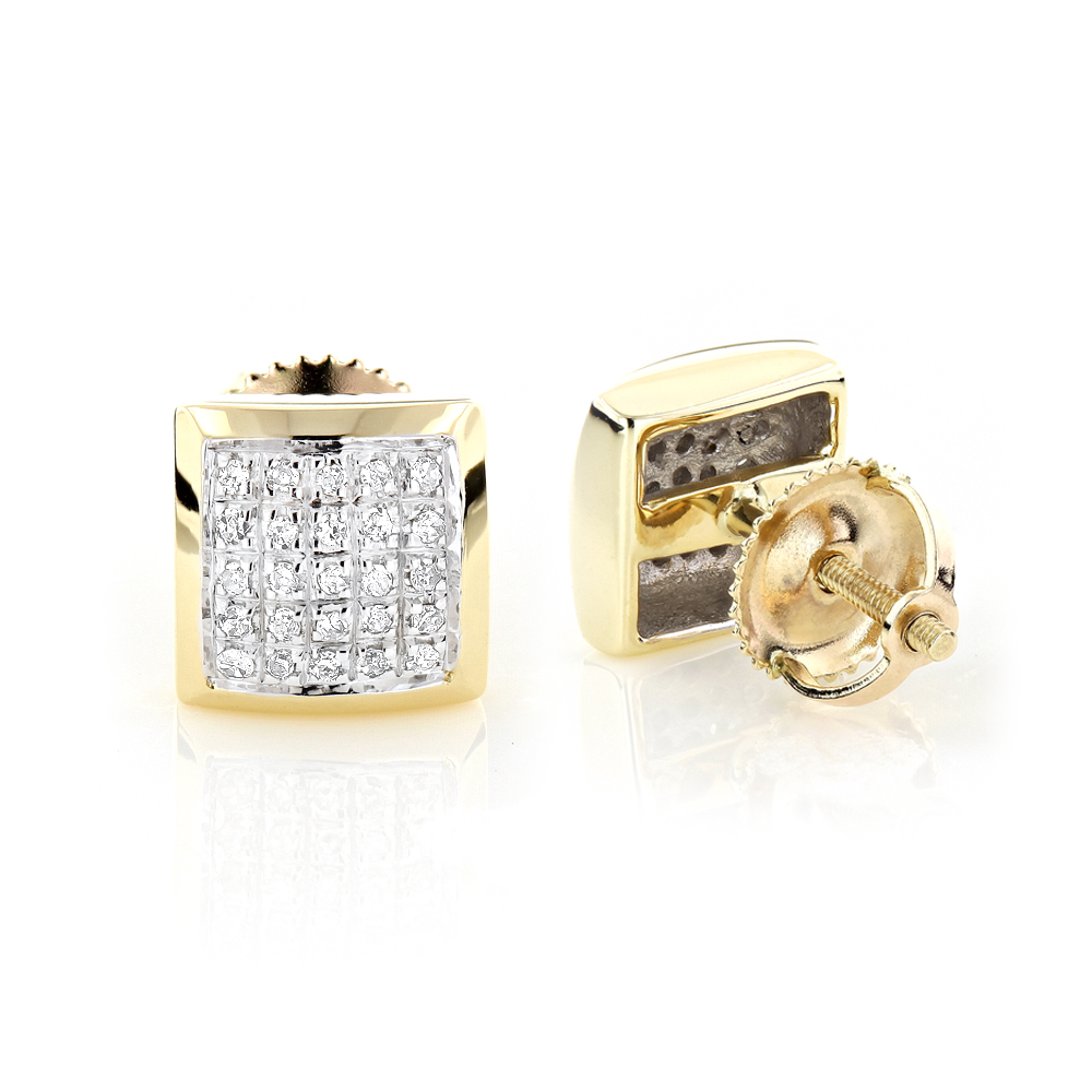 Yellow Gold Plated Sterling Silver Diamond Stud Earrings 0.35ct