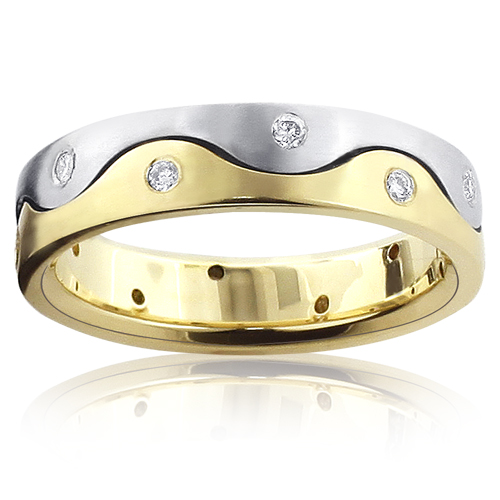Yin Yang 14K Gold Diamond Eternity Band for Men 0.15ct Two Tone