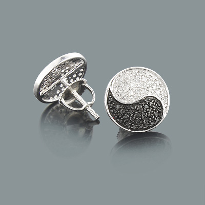 Yin Yang Earrings with Black and White Diamonds 0.44ct Sterling Silver