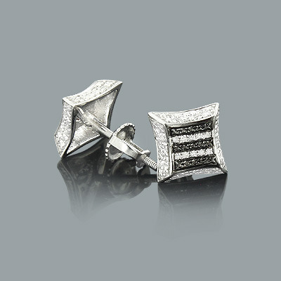 Zebra Print Silver Earrings with Diamonds 0.12ct