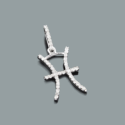 Zodiac Jewelry: Gold Diamond Pisces Pendant Charm 0.16ct 10K